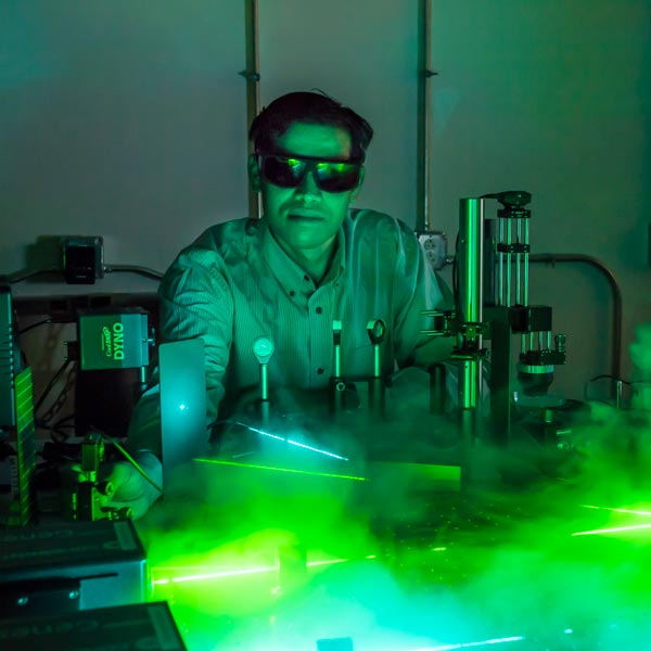 Gururaj Naik is developing technology to upconvert light by using lasers to power devices that combine plasmonic metals and semiconducting quantum wells